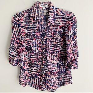 Express Portofino Abstract Print Shirt Size Small
